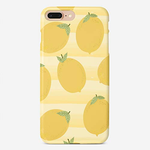 ZHIQCH iPhone 7/8 Plus Case Yellow Lemons Summer Fruit Watercolor Stripe Fun Slim Fit Hard Plastic Cover Cases Full Protective Anti-Scratch Resistant Compatible with iPhone 7/8 Plus
