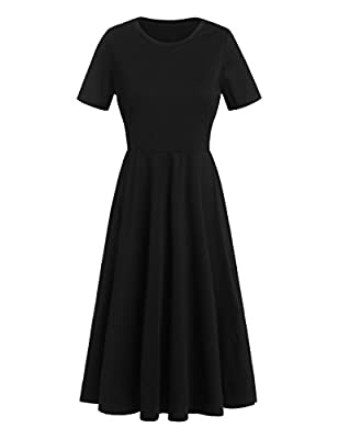 MakeMeChic Women's Short Sleeve Casual Summer Flared Tunic Swing Midi Dress