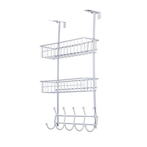 Wittywares Over The Door Hook Hanger Three Tiers with 5 Hooks and Mesh Basket Shelves Adjustable Storage Rack Wall Hook for Coats Hats Robes Towels(White)