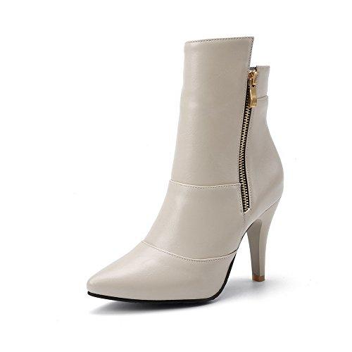 AllhqFashion Damen Spitz Zehe Hoher Absatz Blend-Materialien Niedrig-Spitze Rein Stiefel Cremefarben