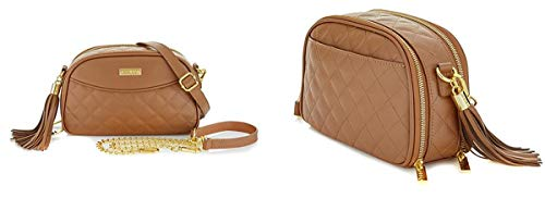 JOY & IMAN Diamond Quilted Genuine Leather Crossbody Bag with RFID ~ Rich Cognac
