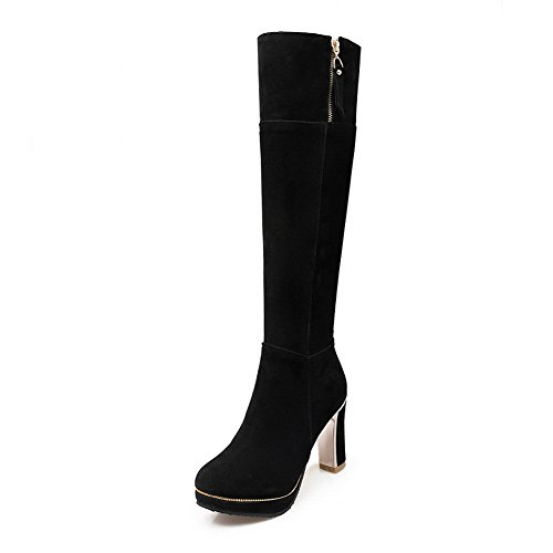 A&N Ladies Chunky Heels Platform Zipper Frosted Boots Black F83SlY