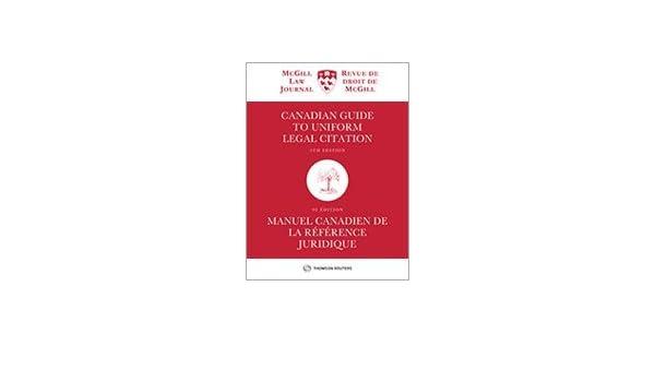 canadian guide to uniform legal citation