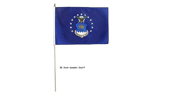 "12x18 12/""x18/"" Air Force Emblem USAF Stick Flag 30/"" wood staff"