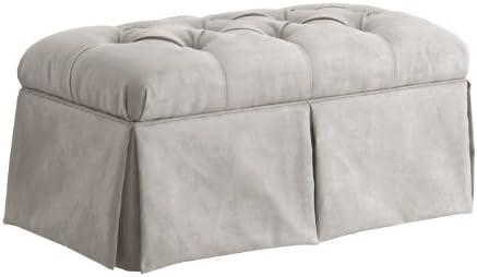 Skyline Furniture Velvet Skirted Storage Bench, Light Gray