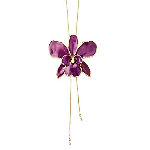 JE Beautiful Lacquer Dipped Purple Cattleya Orchid Adjustable Necklace