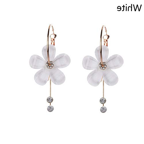 Dokis Rhinestone Small Hoop Zircon Tassel 5 Petal Drop Earrings Acrylic Flower | Model ERRNGS - 25586 |