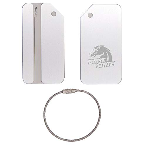 - LOGO BOISE STATE BRONCOS 3 STAINLESS STEEL - ENGRAVED LUGGAGE TAG - SET OF 2 (METALLIC SILVER) - FOR ANY TYPE OF LUGGAGE, SUITCASES, GYM BAGS, BRIEFCASES, GOLF BAGS