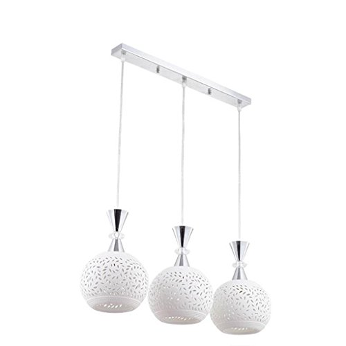 HOMEE Ceiling Chandelier-Ceramic Chandeliers Modern Simple 3 Head round Long Disk Led Bar Chandelier Restaurant Room Bedroom E27,50Cm by HOMEE