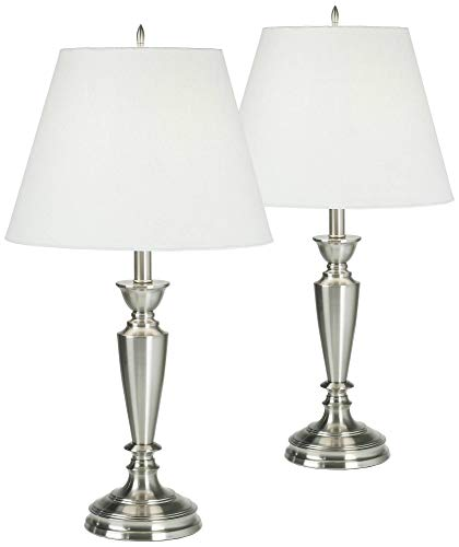 (Traditional Table Lamps Set of 2 Brushed Steel Candlestick White Linen Empire Shade for Living Room Family Bedroom - Barnes and Ivy)