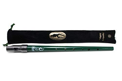 Green Clarke Sweetone D Traditional Irish Tin Penny Whistle & Soft Black Whistle Pouch