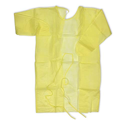 Medpride Yellow Impervious Isolation Gown, 10 Pack, Poly Coated, Elastic Cuffs