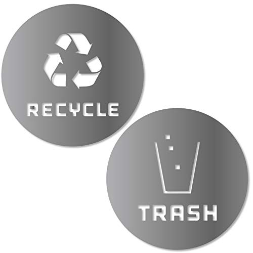 Recycle and Trash Sticker Vinyl Modern Logo (2.75 x 2.75 1 ea.) Symbol to Organize Trash cans or Garbage containers and Walls - XSmall - Silver Metallic