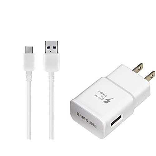 OEM Adaptive Fast Charger for Samsung SM-T820 15W with certified USB Type-C Data and Charging Cable. (WHITE/3.3FT/1M Cable)