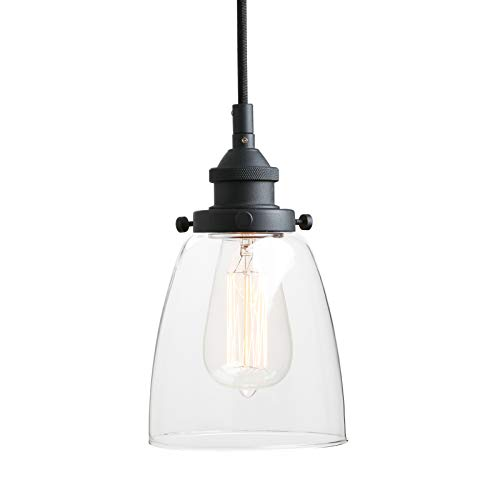 - Pathson Retro Pendant Lighting, Industrial Small Hanging Light with Clear Glass and Textile Cord, Adjustable Kitchen Lamp for Hotels Hallway Shops Cafe Bar Flush Mount Ceiling Light Fixtures