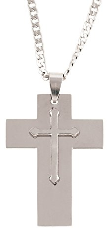 Men's Cross Necklace - Serenity Prayer in Gift Box with Boat ()