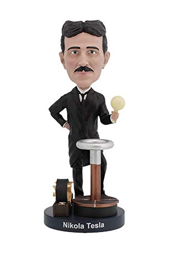 Royal Bobbles Nikola Tesla Bobblehead with a Glow-in-The-Dark Light Bulb