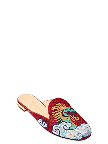 charlotte olympia Womens Dragon Embroidered Mules, Multicolor/Red, Size 10.5