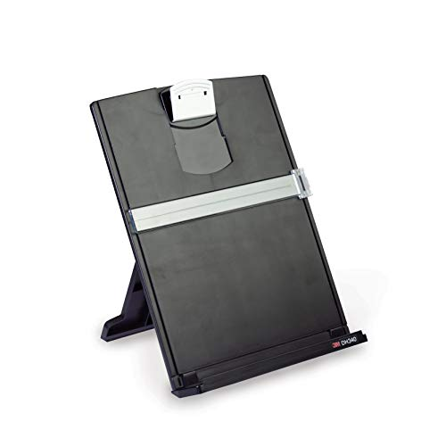 3M Desktop Document Holder with Adjustable Clip, Holds Letter, Legal and A4 Documents, Bottom Ledge Has Lip to Keep up to 150 Sheets Securely in Place, Folds Flat for Storage, Black (DH340MB) ()
