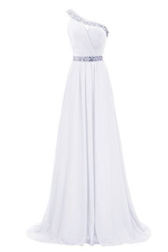Shoulder Evening Beaded Prom Gown Ivory Dress Party AN91 Bridesmaid One Anlin Chiffon Long fIq6w5afx