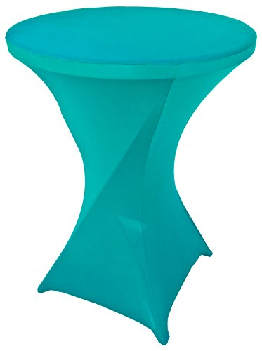 (Goldstream Point Turquoise 32 Inch Round x 43 Inch Tall Spandex Cocktail Tablecloth Folding Cover Stretch)