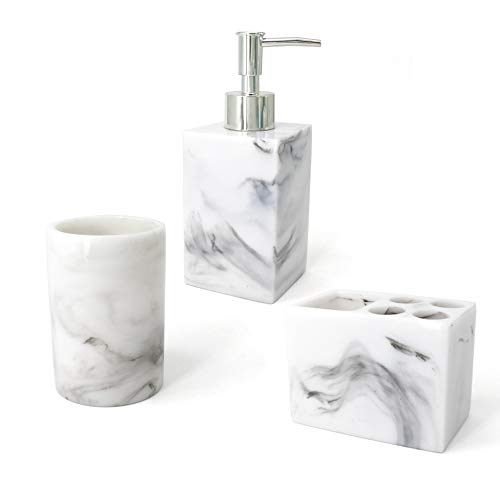 LUANT Resin Marble Style Bathroom Soap Dispenser, Toothbrush Holder and Tumbler