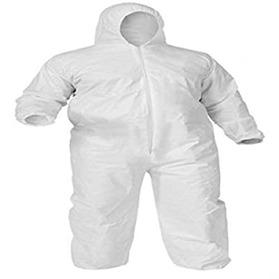 White 55G Microporous Coverall with Elastic Bands in Hood, Cuffs, Ankles, Waist. Heavy-Duty Protective Coveralls. Unisex Disposable Workwear for Cleaning, Painting, Manufacturing. X-Large size.