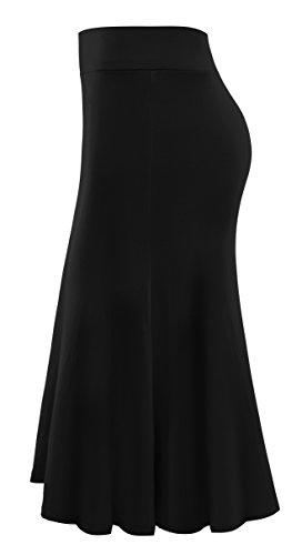 Plus Size Knee Length Midi Skirt for Women Large Black