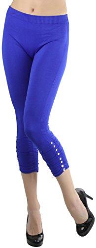 Capri Blue Rhinestone (ToBeInStyle Women's Rhinestone Accent Ruched Capri Leggings (Royal Blue))
