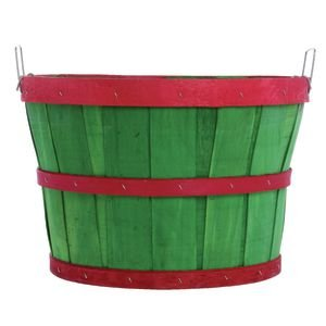 1/2 Bushel Green With Red Bands TEXAS BASKET COMPANY