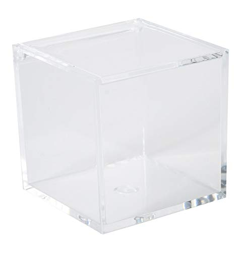 Clear Lucite Plastic Storage Box with Hinged Lid-Acrylic Boxes For Wedding, Party Favor, Treats, Candy Mini Gifts, Sewing Set, Cosmetic Organizer 3.15''x3.15''x3.15'' (4 Pack)