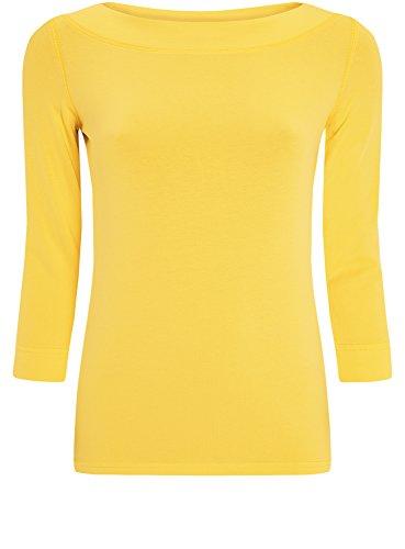 oodji Collection Mujer Camiseta de Manga 3/4 sin Etiqueta Amarillo (5100N)