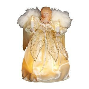 Kurt Adler 9-Inch 10 Light Ivory and Gold Angel Treetop (Christmas Topper Shop Tree Tree)