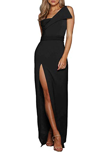 b8ad28563d76 ZKESS Women's Off The Shoulder One Sleeve Slit Maxi Party Prom Dress ...