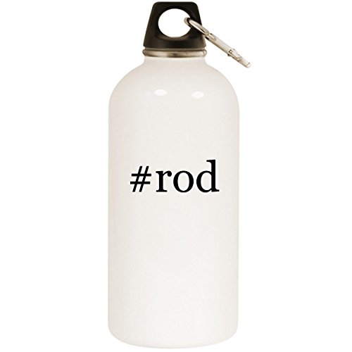 Molandra Products #Rod - White Hashtag 20oz Stainless Steel Water Bottle with Carabiner