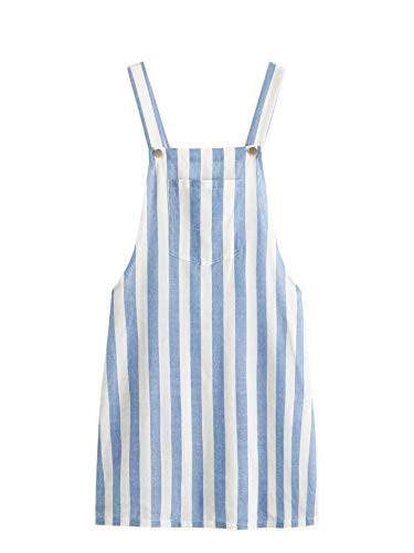 MAKEMECHIC Women's Bid Strap Pocket Dungaree Mini Overall Dress Striped S]()