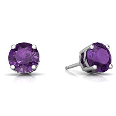5ada0c895 2 Ct Created Alexandrite Round Stud Earrings 14Kt White Gold & Sterling  Silver: Amazon.co.uk: Jewellery