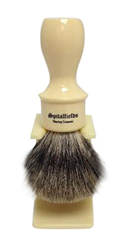 2017 Sale - Spitalfields Shaving Company 100% Pure Premium Badger Bristle with Signature Classic Large Long Barber Shop Handle Shaving Brush and FREE Acrylic Stand - Old Spitalfields Ivory (Ivory Pure Shaving Brush)