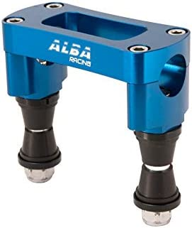 2 Chrome Steering Stem and Blue billet Aluminum Handlebar Clamp 7//8 655 CL Banshee 350