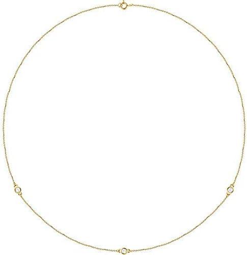 14K Yellow Gold 14 CTW Diamond 3Station 18 Necklace BezelSet Station Necklace