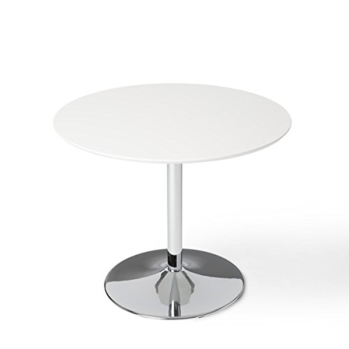 Simple Living White Chrome Metal Stand Single Pisa Dining Table White Contemporary (Breakfast Table Nook Round)