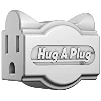 Hug-A-Plug Grounded Right Angle Adapter Plug - White [15a 125v Current Tap] by Hug-A-Plug