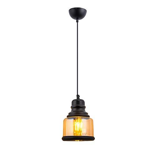 - HOGOL Mini Jar Pendant Light Clear Glass Shade Ceiling Lighting Edison Industrial Hanging Lamp Adjustable Wire Antique Black Chandelier Pendant for Kitchen Island(1 Pack)