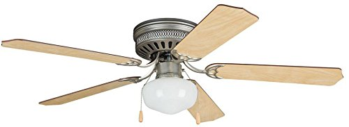 Litex CC52BP5C1 Celeste Deluxe 52-Inch Brushed Pewter Ceiling Five Reversible Ash Mahogany Fan Blades and Single Light Kit, Opal Frosted Glass