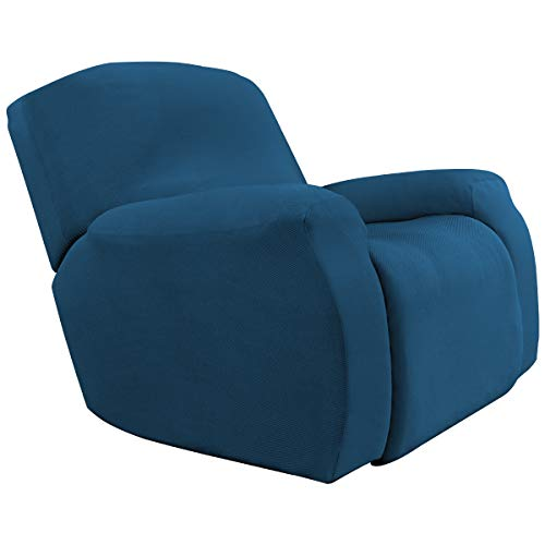 (Stretch Slipcovers, Sofa Covers, Furniture Protector with Elastic Bottom, Anti-Slip Foams, Couch Shield, Polyester Spandex Jacquard Fabric Small Checks (Oversized Recliner,Twill,Blue) )