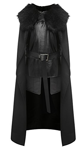 1stvital Jon Snow Knights Watch Cosplay Halloween Costume Cape Outfit Men's (Game Of Thrones Halloween)