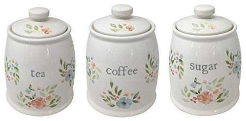 FLORAL FLOWERS LEAVES GREEN PINK WHITE CERAMIC TEA SUGAR COFFEE CANISTER 15X27X12CM - 6X4.75X4.75