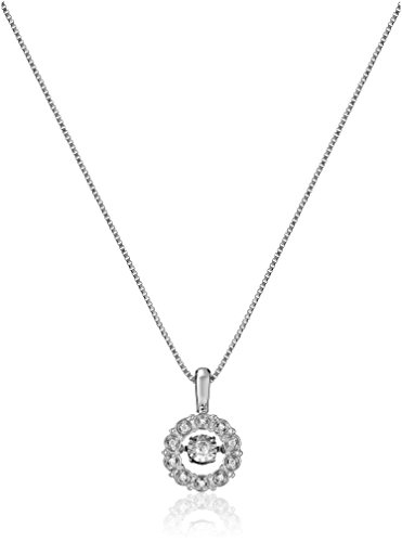 Sterling Silver Dancing Diamond Accent Circle Pendant Necklace