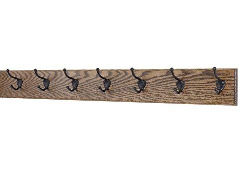 """Oak Wall Mounted Coat Rack with Bronze Hooks 4.5"""" Ultra Wide (Walnut, 36"""" x 4.5"""" with 7 Hooks)"""