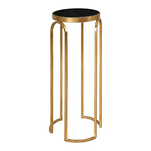 My Swanky Home Petite Minimalist Gold Metal Black Marble Top Table | Accent Pedestal Round Slim
